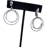Avon Silvertone 3 Hoop Clip-on Earrings