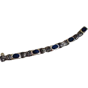 Silvertone Bracelet with Medium Blue Shade Inserts