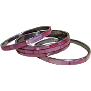 Set of 3 Faux Mother-of-Pearl Pink Bangles