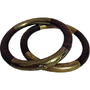 Pair of Wood and Etched Brass Bangle Bracelets