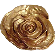 Kate Hines Goldtone Opened Rose Brooch