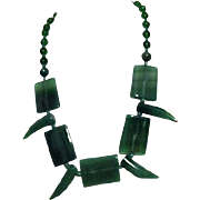 Green Beaded Round and Square Shapes Plastic Necklace