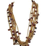 Autumn Shades 10 Strand Glass Beads Necklace