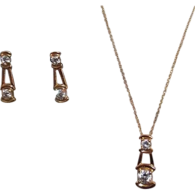 lindenwold fine jewelry set goldtone necklace and clip
