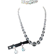 Crystal Set with Necklace Bracelet and Screw-on Earrings
