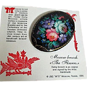 Moscow Brooch Handmade Signed Flowers Russia Original Sales Card 1995
