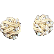 Trifari Goldtone Clip-on Earrings with Clear Rhinestones