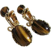 Goldtone Clip-on Drop Earrings with Tiger-eye Cabochon