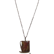 Goldtone Mounted Square Striped Stone on Goldtone Chain