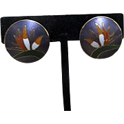 Laurel Burch Bird of Paradise Round Clip-on Earrings