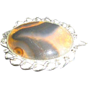 Brooch Pendant on Silvertone Chain