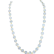White Jade Beaded Necklace with Small Goldtone Double Spacers