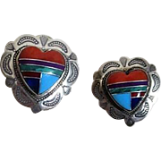 Sterling Silver Earrings with Inlaid Heart of Coral, Turquoise, Onyx, Malachite in Heart Shape for Pierced Ears