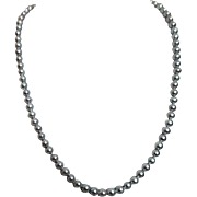 Single Strand Black Freshwater Pearls Knotted between Pearls