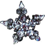 Star Shaped Rhinestone Brooch Pin Unsigned