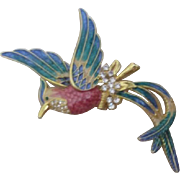 Unsigned Large Enamel and Rhinestone on Goldtone Bird Brooch