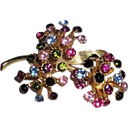 Multi-Colored Rhinestones Flower Brooch/Pin