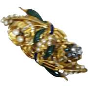 Coro Duette Trembler Brooch & Fur Clips Flowers with Pearls Rhinestones and Enamel
