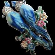 Coro Blue Calopsitta Enameled Rhinestone Duette Fur Clips Brooch