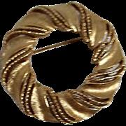 Crown Trifari Gold Tone Circle Brooch
