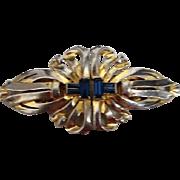 Coro Duette Art Deco  Rhinestone Brooch Sapphire Colored Baguette Rhinestones