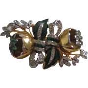 Coro Duette Fur Clips Brooch with Camellia Tremblers