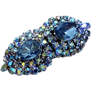 Jay Kel Duette Brooch and Fur Clips Light Blue Rhinestones