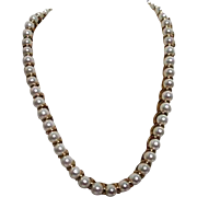 Erwin Pearl Necklace Goldtone and Glass Pearls 18""