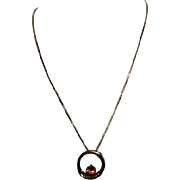 "19k Gold Pendant with Topaz Stone, 6 CZ's on 16"" Chain"