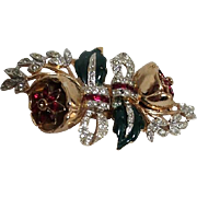 Coro Duette Fur Clips Brooch with Camellias
