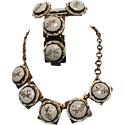 Siamese Set of Necklace, Bracelet and Earrings Goldtone Dancer Motif