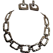 Unsigned Lightweight Metal Chunky Chain Necklace and Earrings