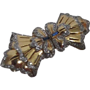 Coro Duette Fur Clips Brooch with Layered Ruffle Bowtie Green Baguette Rhinestones