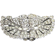 Unsigned Duette Brooch Fur Clips  Rhinestones Baguettes