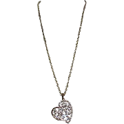 Open Heart Goldtone Pendant on Chain with CZ's