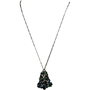 Green Decorated Christmas Tree Bell on Goldtone Chain Necklace