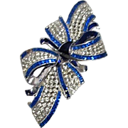 Duette Brooch & Fur Clip Coro Blue and Clear Ribbon and Bow