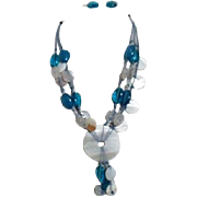 Blue and White Bangles Necklace and Earrings
