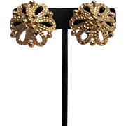 Trifari Clip-on Round Goldtone Earrings