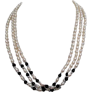Three Strand Freshwater Pearls with Onyx and Silver Beads