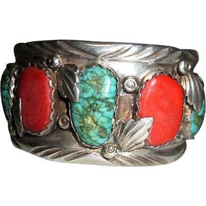 Native American Sterling Silver Solid Bracelet with Coral and Turquoise Mountings