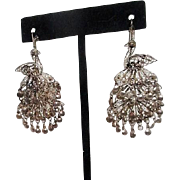 Sterling Silver Filigree Peacock Pierced Earrings