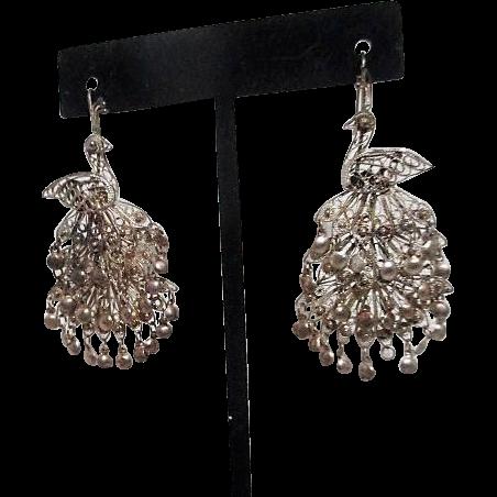 Sterling Silver Filigree Peacock Pierced Earrings