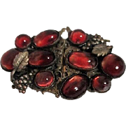 Duette Brooch & Fur Clips Brass Grapes and Leaves with Russet Colored Cabochons