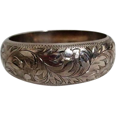 Sterling Silver Hinged Solid Bracelet with Chain Guard Etched Leaf Pattern