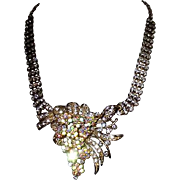 Rhinestone Necklace with Dramatic Centerpiece
