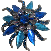 Shades of Blue Star Burst Flower Brooch