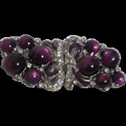 Art Deco Coro Duette Lavender Moonstone Rhinestone Brooch Fur Clips