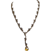 Goldtone Necklace with Rhinestones and Citrine Pendant