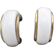 Pair of Monet White on Gold Clip-on Earrings